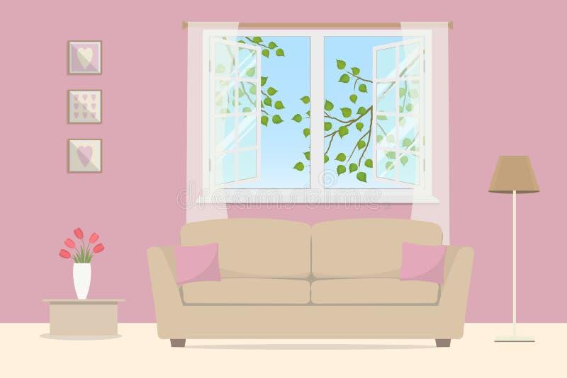 Salone dentellare Sofà beige con i cuscini su un fondo della finestra aperta royalty illustrazione gratis