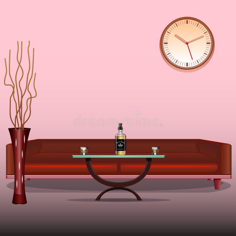 Salone di Art Interior Modello di disegno Sofà rosso Whiskey del liquore, cognac, brandy Vaso decorativo Vettore royalty illustrazione gratis