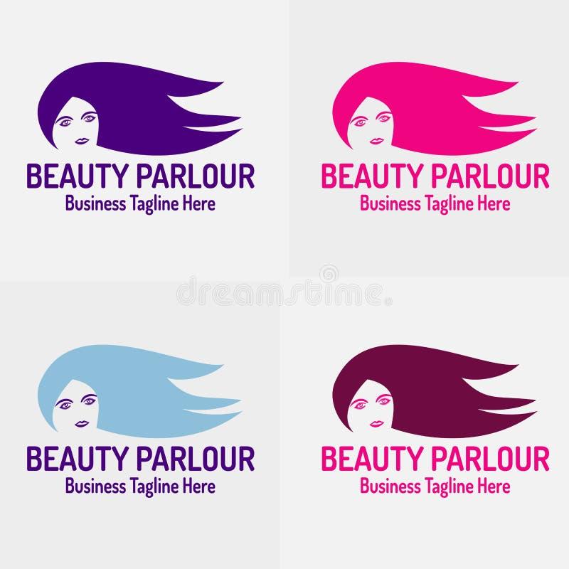 Salone di bellezza con la bella siluetta di Logo Vector della ragazza illustrazione di stock