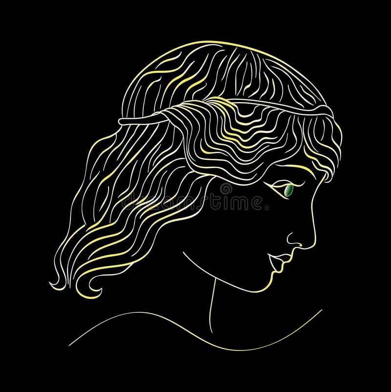 Salone di bellezza, dorato al neon il profilo di una ragazza su un fondo nero illustrazioni illustrazione di stock