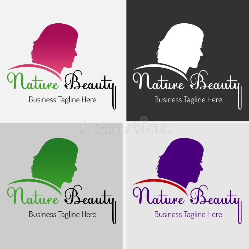 Salone di capelli della ragazza di bellezza con la bella siluetta di Logo Vector della ragazza illustrazione di stock