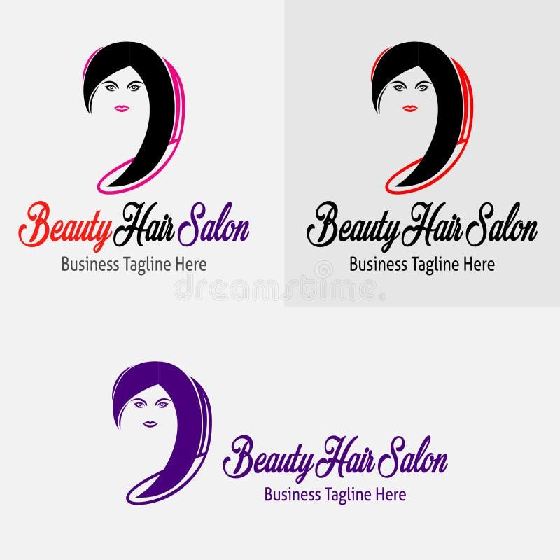 Salone di capelli nero della ragazza di bellezza con la bella siluetta di Logo Vector della ragazza royalty illustrazione gratis