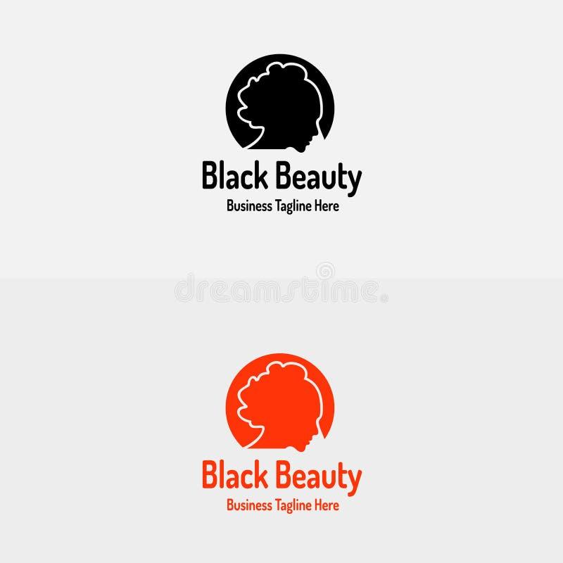 Salone di capelli nero della ragazza di bellezza con la bella siluetta di Logo Vector della ragazza illustrazione di stock