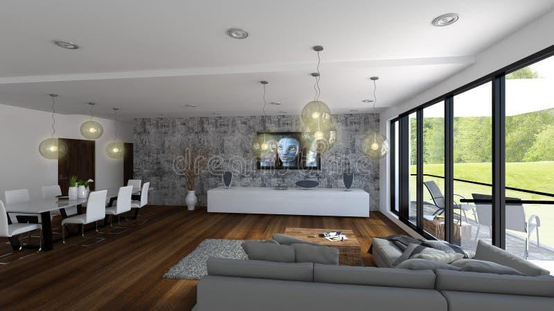 Salone di lusso con la vista per golf verde royalty illustrazione gratis