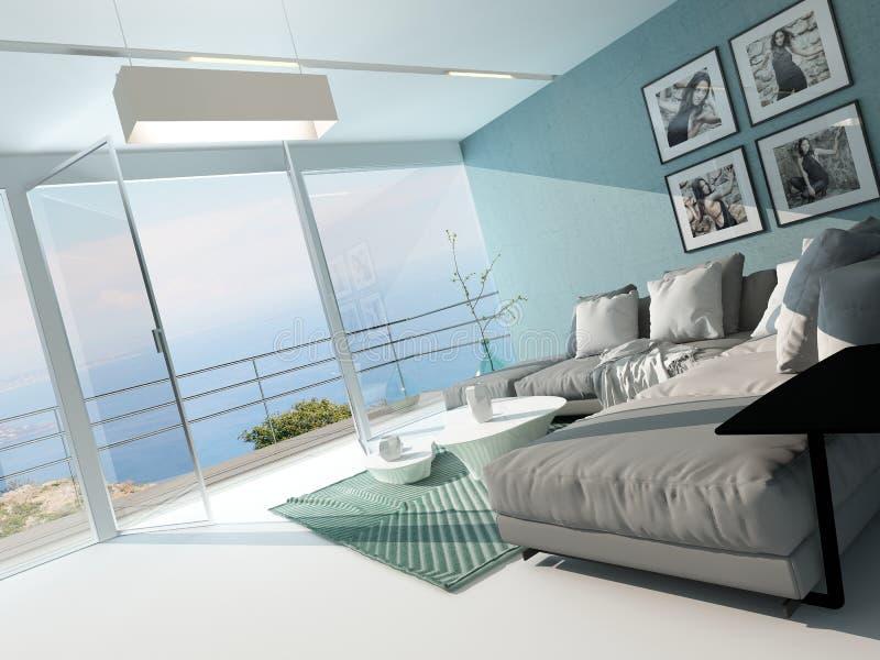 Salone di lusso dell'appartamento di lungomare illustrazione di stock