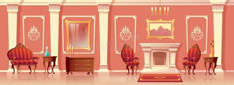 Salone di lusso di vettore con il camino illustrazione di stock