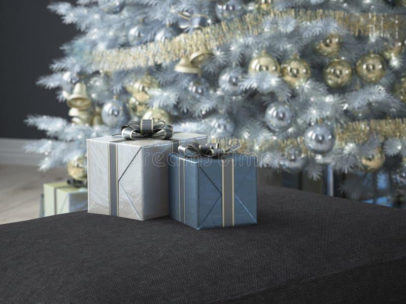 Salone di Natale rappresentazione 3d immagini stock libere da diritti