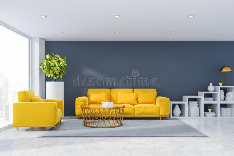 Salone grigio con il sofà e la poltrona royalty illustrazione gratis