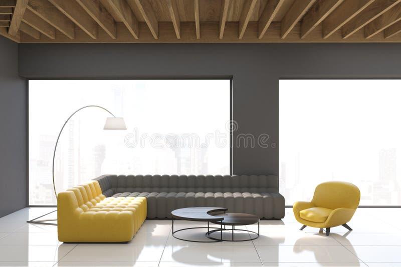 Salone grigio con le finestre panoramiche illustrazione di - Finestre panoramiche ...