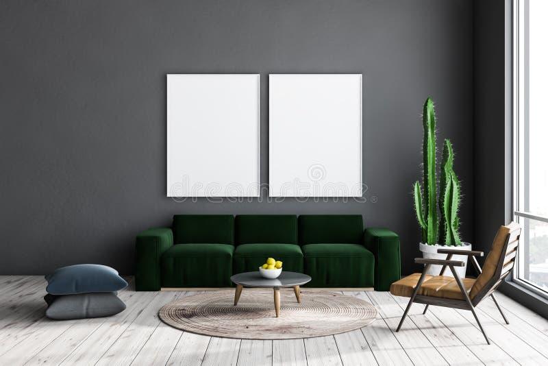 Salone grigio, sofà verde e manifesti illustrazione di stock