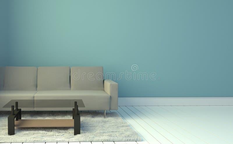 Salone interno con il sofà ed il tappeto grigi, fondo blu-chiaro della parete rappresentazione 3d illustrazione vettoriale