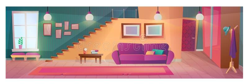 Salone interno con mobilia, accessori, con il gancio del guardaroba royalty illustrazione gratis