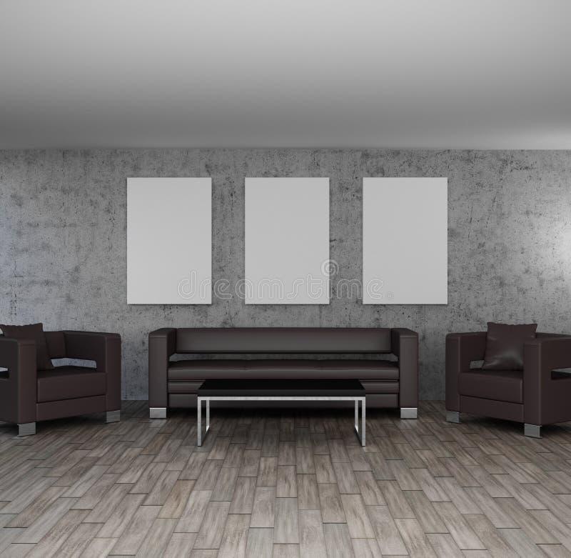 Salone interno moderno dell'illustrazione con la decorazione vuota della parete delle strutture illustrazione di stock