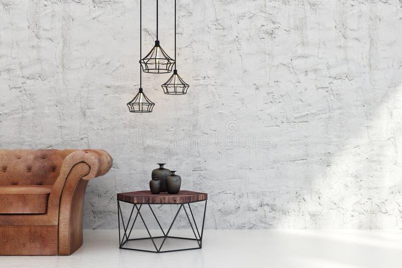 Salone luminoso con copyspace illustrazione di stock