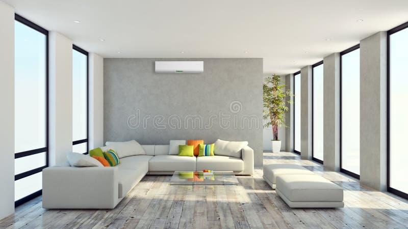 Salone luminoso moderno dell'appartamento degli interni con lo stato dell'aria royalty illustrazione gratis