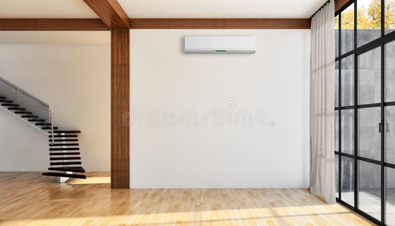 Salone luminoso moderno dell'appartamento degli interni con lo stato dell'aria immagini stock