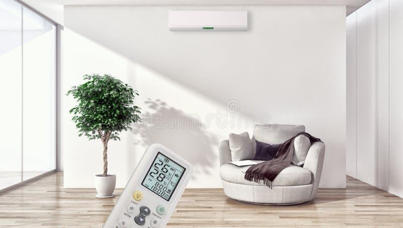 Salone luminoso moderno dell'appartamento degli interni con lo stato dell'aria fotografie stock libere da diritti