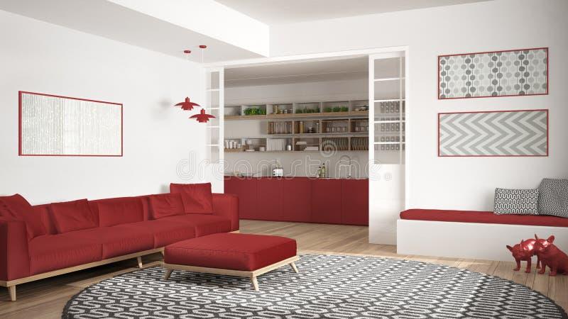 Salone minimalista con il sofà, il grande tappeto rotondo e la cucina i fotografia stock