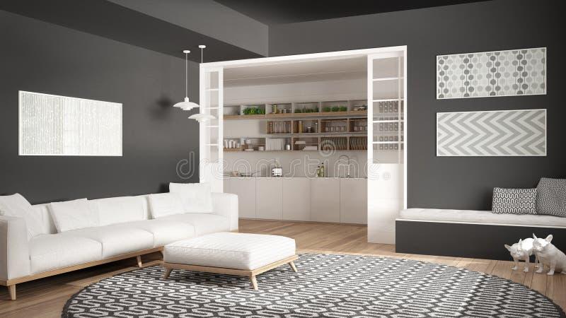 Salone minimalista con il sofà, il grande tappeto rotondo e la cucina i immagini stock libere da diritti