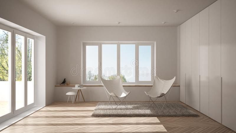 Salone minimo bianco con il tappeto della poltrona, il pavimento di parquet e la finestra panoramica, architettura scandinava, in immagine stock