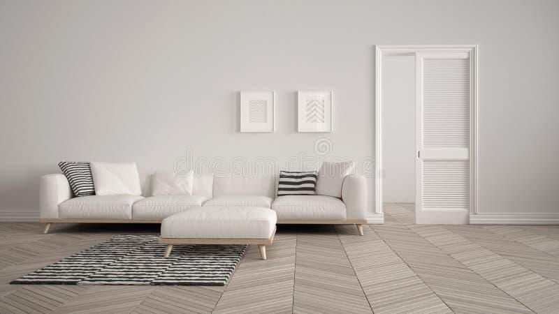 Salone moderno con il sofà ed il tappeto bianchi, fondo della parete in bianco con la porta aperta, parquet di herrigbone, fondo  illustrazione di stock