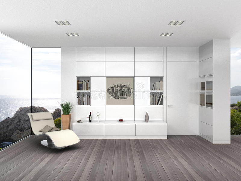 Salone moderno con l'imbarco bianco della parete illustrazione vettoriale