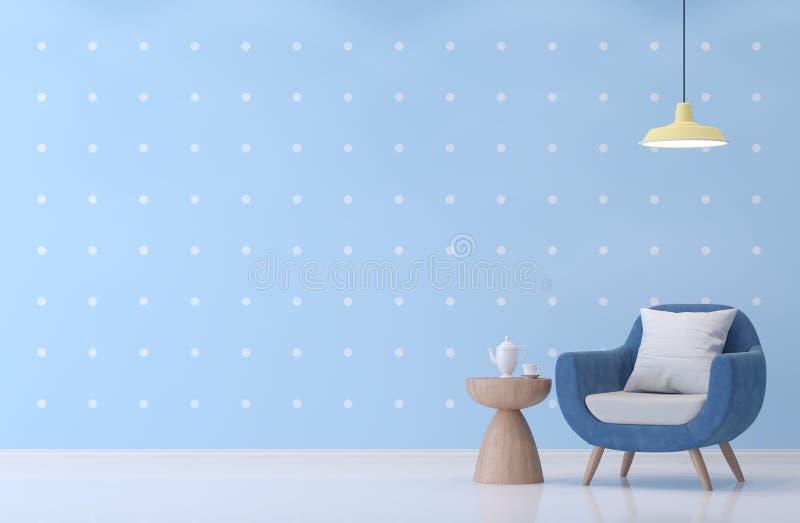 Salone moderno con l'immagine blu e bianca della rappresentazione della carta da parati 3d del punto royalty illustrazione gratis