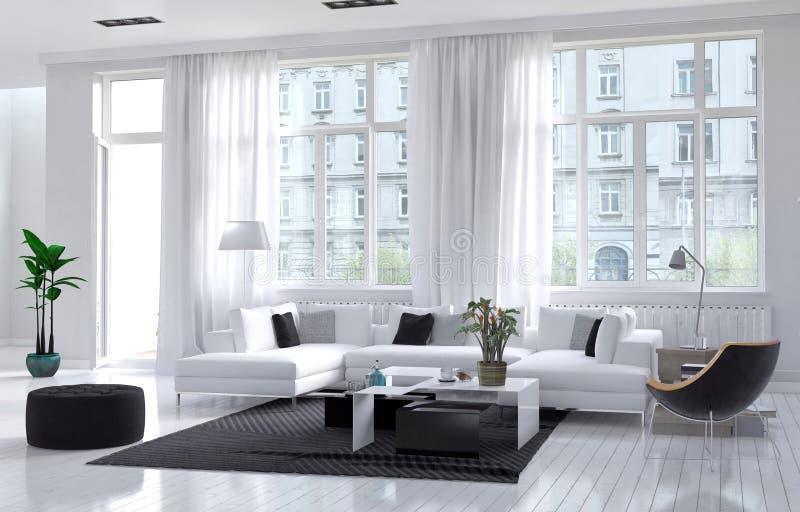 Salone moderno con la decorazione bianca e nera royalty illustrazione gratis