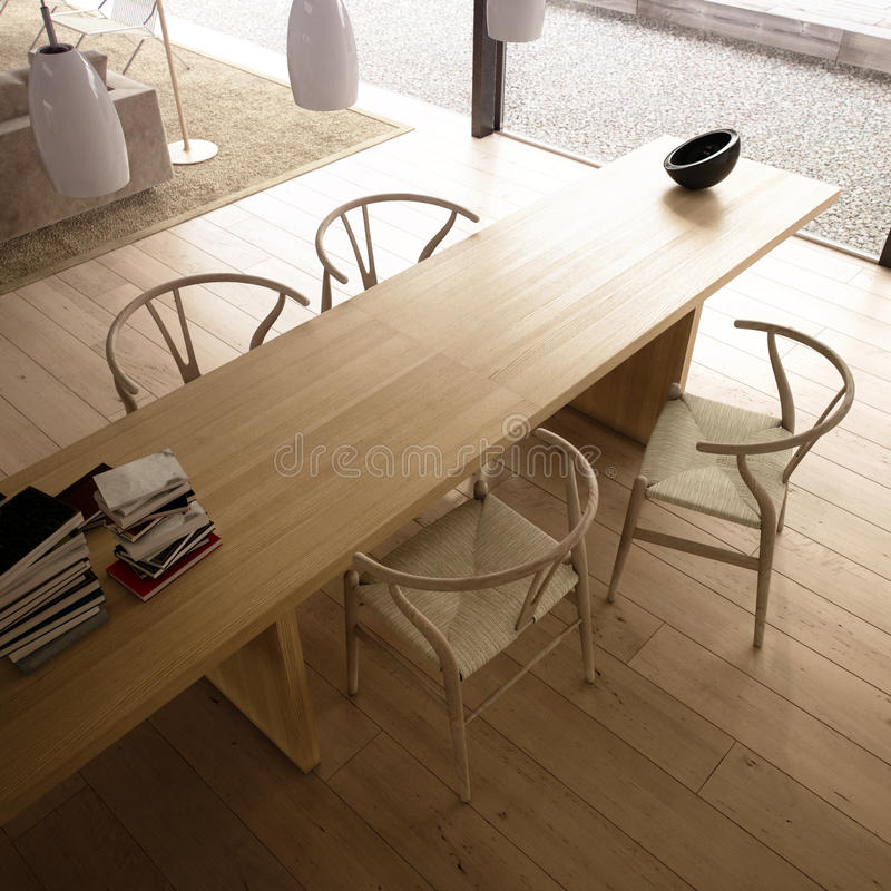Salone moderno con la tabella e le presidenze