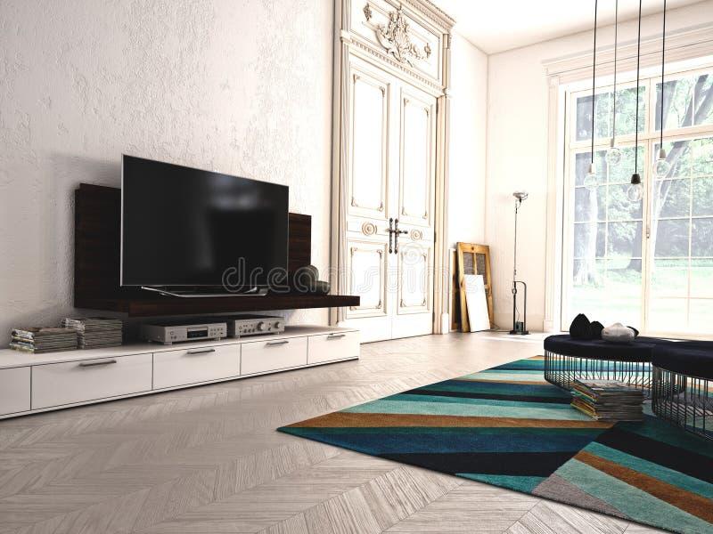 Salone moderno con la TV e l'impianto ad alta fedeltà 3d fotografia stock