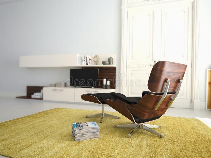 Salone moderno con la TV e l'impianto ad alta fedeltà 3d fotografia stock libera da diritti