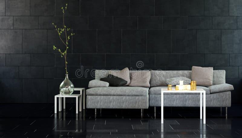 Salone moderno con le Tabelle del lato e del sofà illustrazione vettoriale