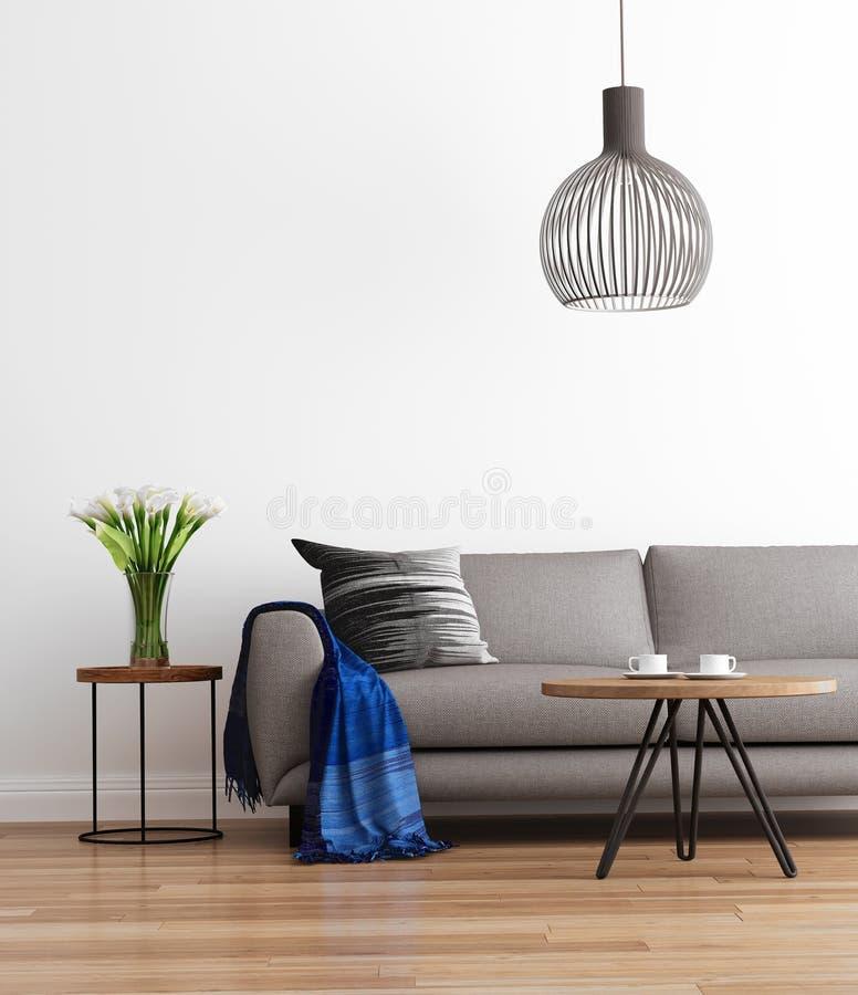 Salone moderno contemporaneo con il sofà grigio immagini stock