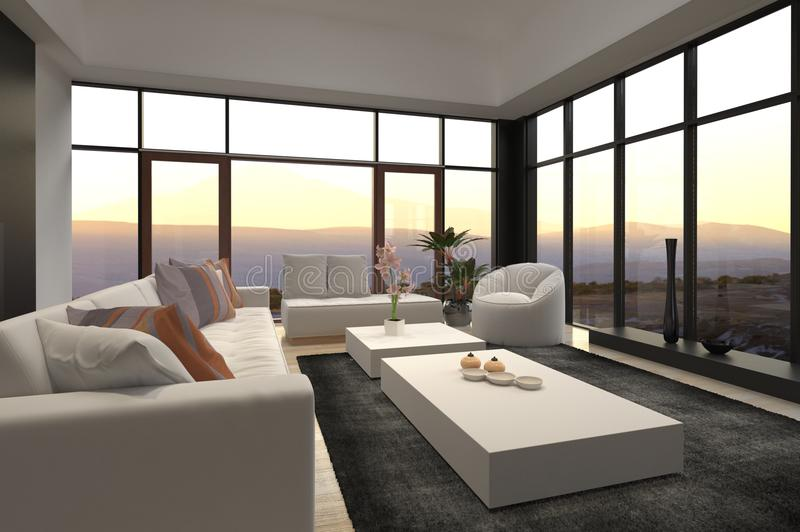 Salone moderno del sottotetto con la vista alba/di tramonto fotografia stock libera da diritti
