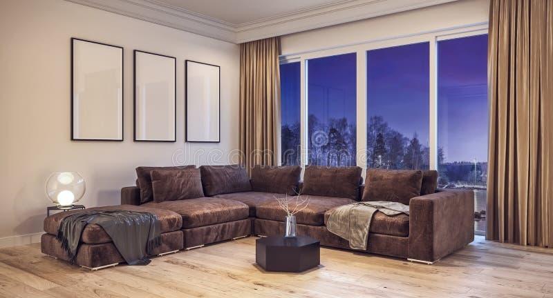 Salone moderno di interior design con neve, gli alberi ed il cielo notturno nel fondo fotografia stock libera da diritti