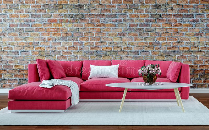 Salone moderno di interior design, vecchio muro di mattoni, retro stile, sofà rosso immagini stock libere da diritti