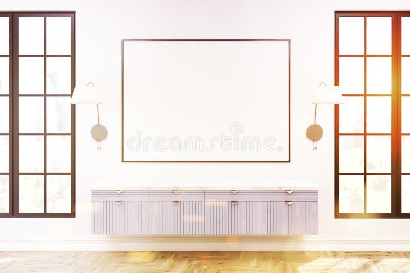 Salone moderno interno, gabinetto di legno, tonificato illustrazione di stock