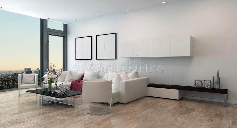 Salone moderno nell'alto condominio di aumento illustrazione di stock