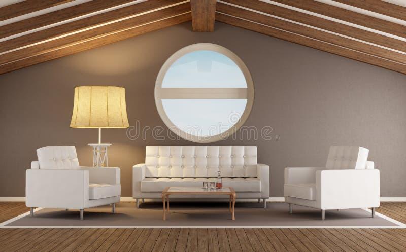 Salone moderno in una soffitta illustrazione di stock