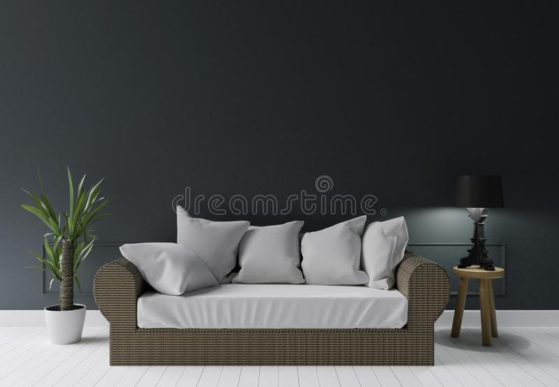 Salone moderno verde scuro con la lampada del sofà di estate e poco albero, parete dello spazio della copia illustrazione di stock