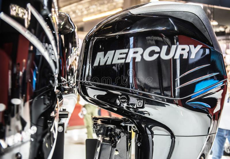 Mercury speedboat Outboard motor. Salone Nautico in Genova, Italy 2017. On display big modern last generation Mercury black and powerful speed boat engine, an stock photos