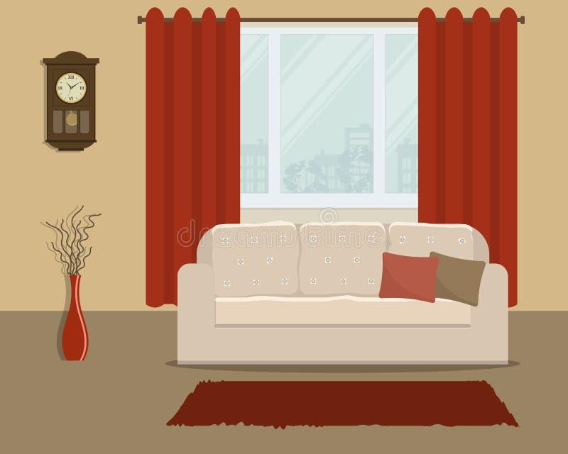 Salone nel retro stile con un sofà bianco e le tende rosse illustrazione vettoriale