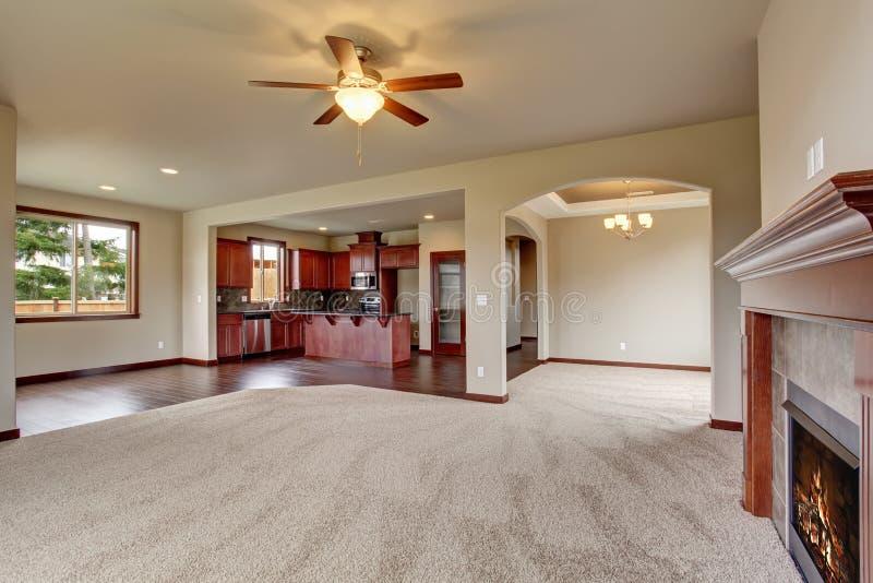 Salone non ammobiliato adorabile con tappeto immagini stock
