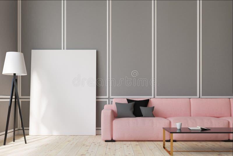 Salone rosa del sofà, manifesto verticale illustrazione vettoriale
