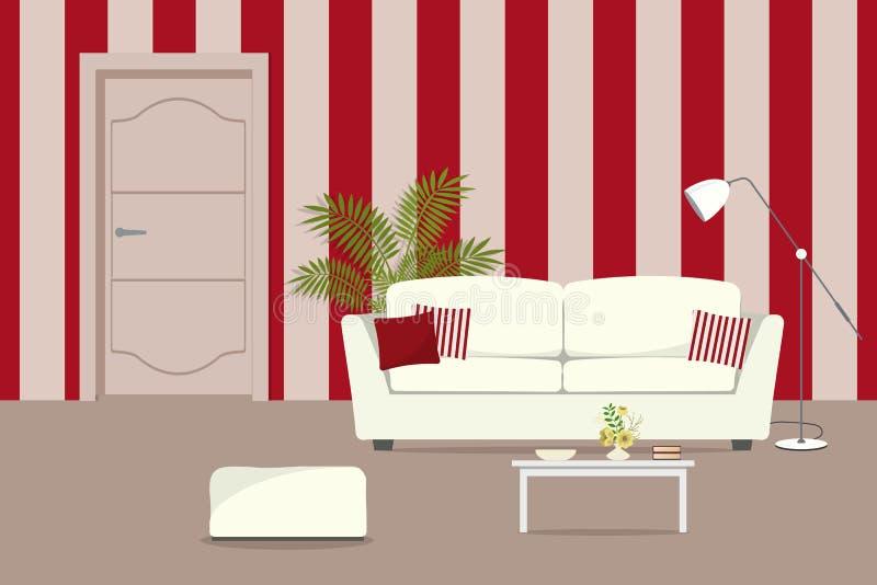 Salone rosso con un sofà bianco illustrazione vettoriale