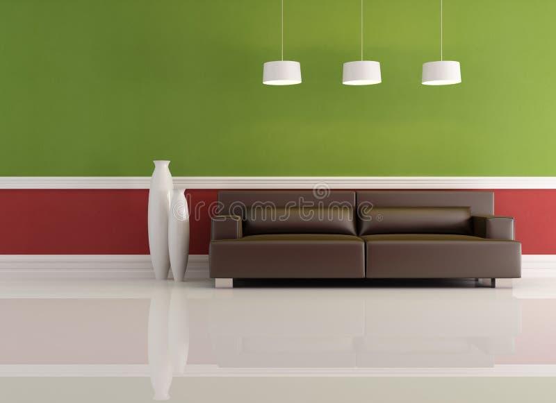 Salone rosso e verde illustrazione di stock