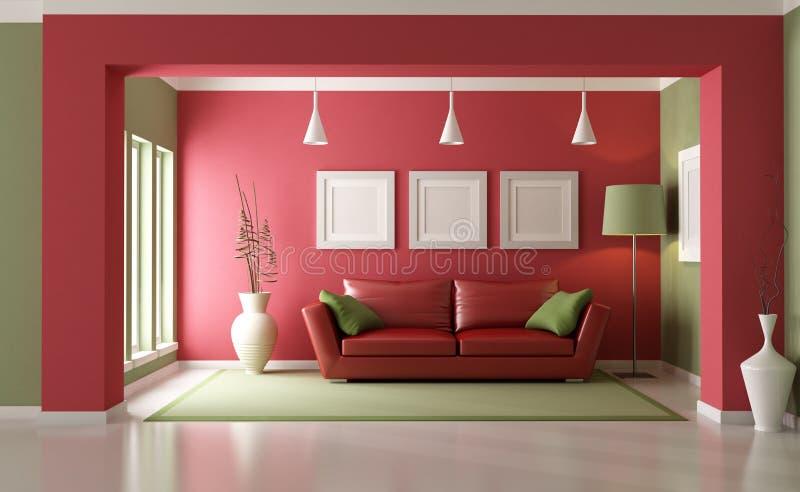 Salone rosso e verde royalty illustrazione gratis