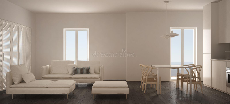 Salone scandinavo minimalista con la cucina e tavolo da pranzo, sofà, pouf e chaise longue, finestra panoramica, wh contemporaneo fotografie stock libere da diritti