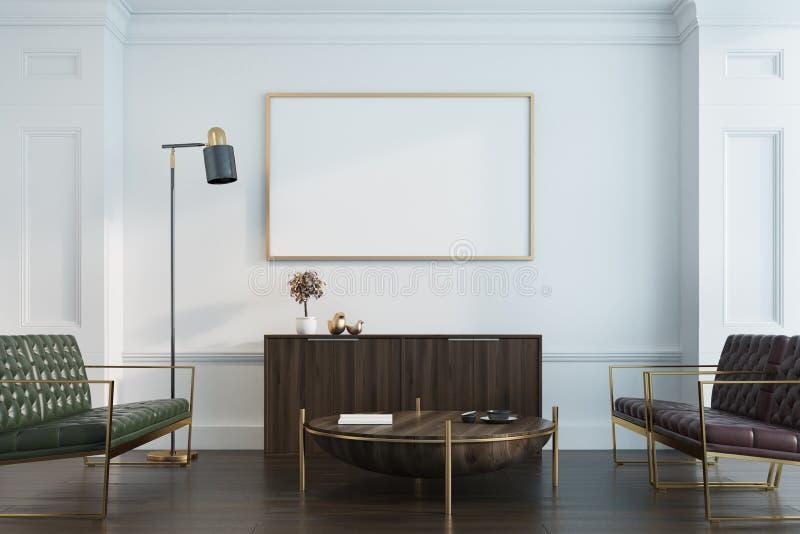 Salone, sofà e manifesto bianchi illustrazione di stock