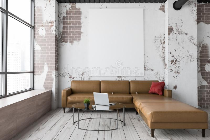 Salone, sofà e manifesto di lerciume illustrazione di stock